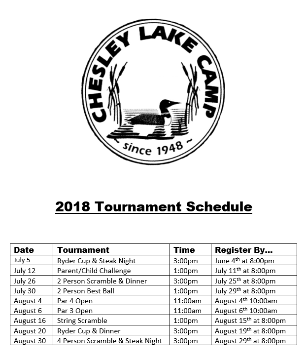 2018 Chesley Lake Golf Course Tournament Schedule